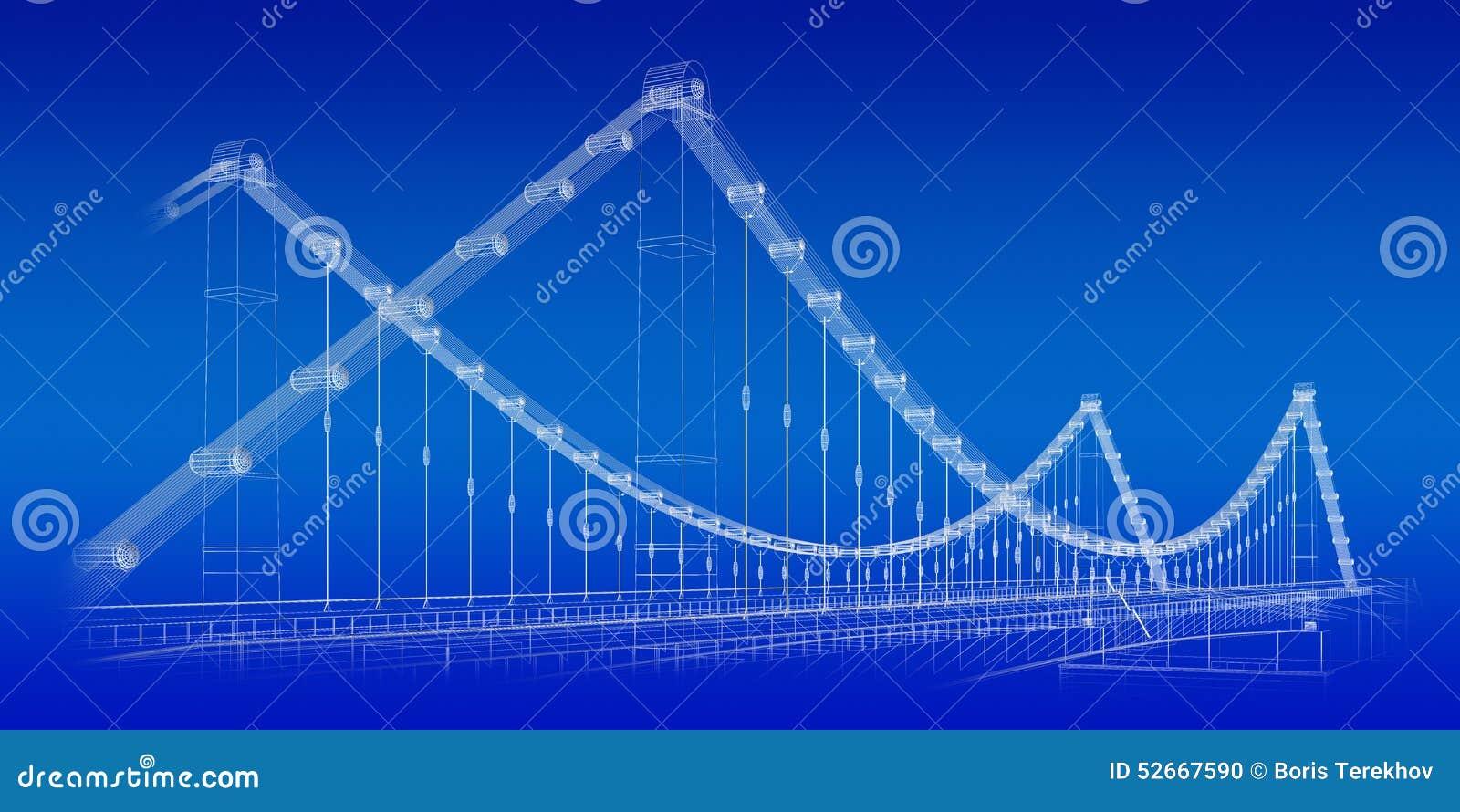 Bridge Blueprint Stock Illustration Image Of Embankment