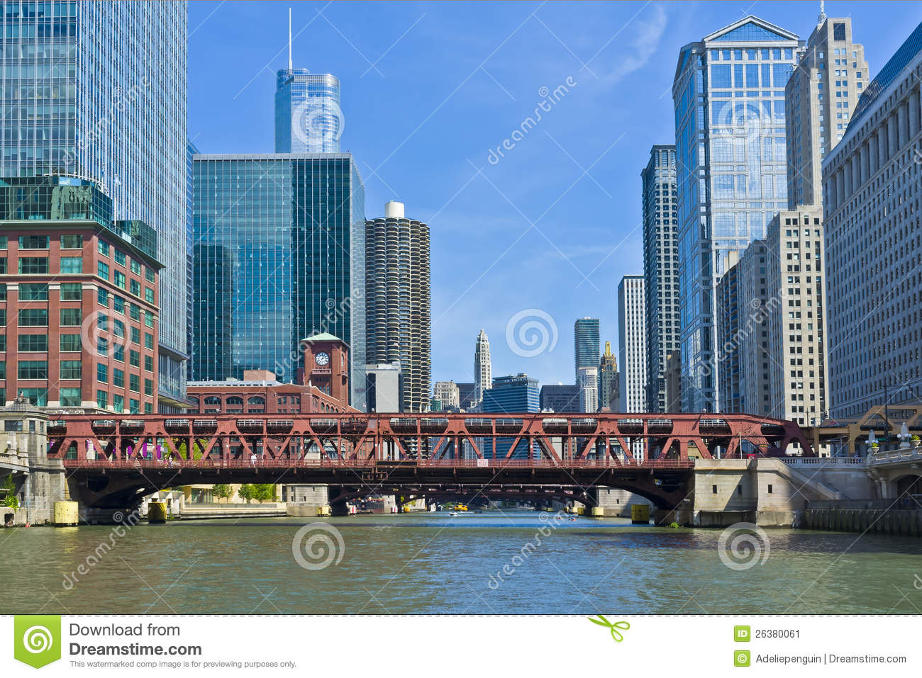 bridge and buildings chicago river illinois stock image image 26380061. Black Bedroom Furniture Sets. Home Design Ideas