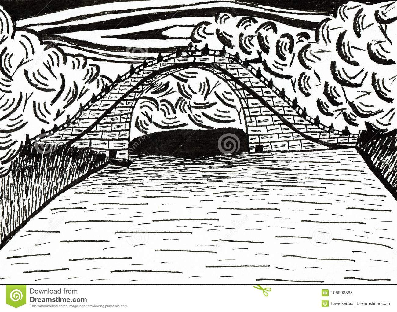 Download Bridge In The Chinese Garden In Frankfurt / Main Stock Vector    Illustration Of Bridge