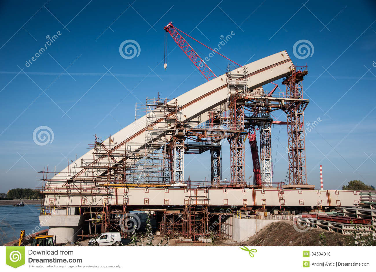 bridge construction stock photo image of crane