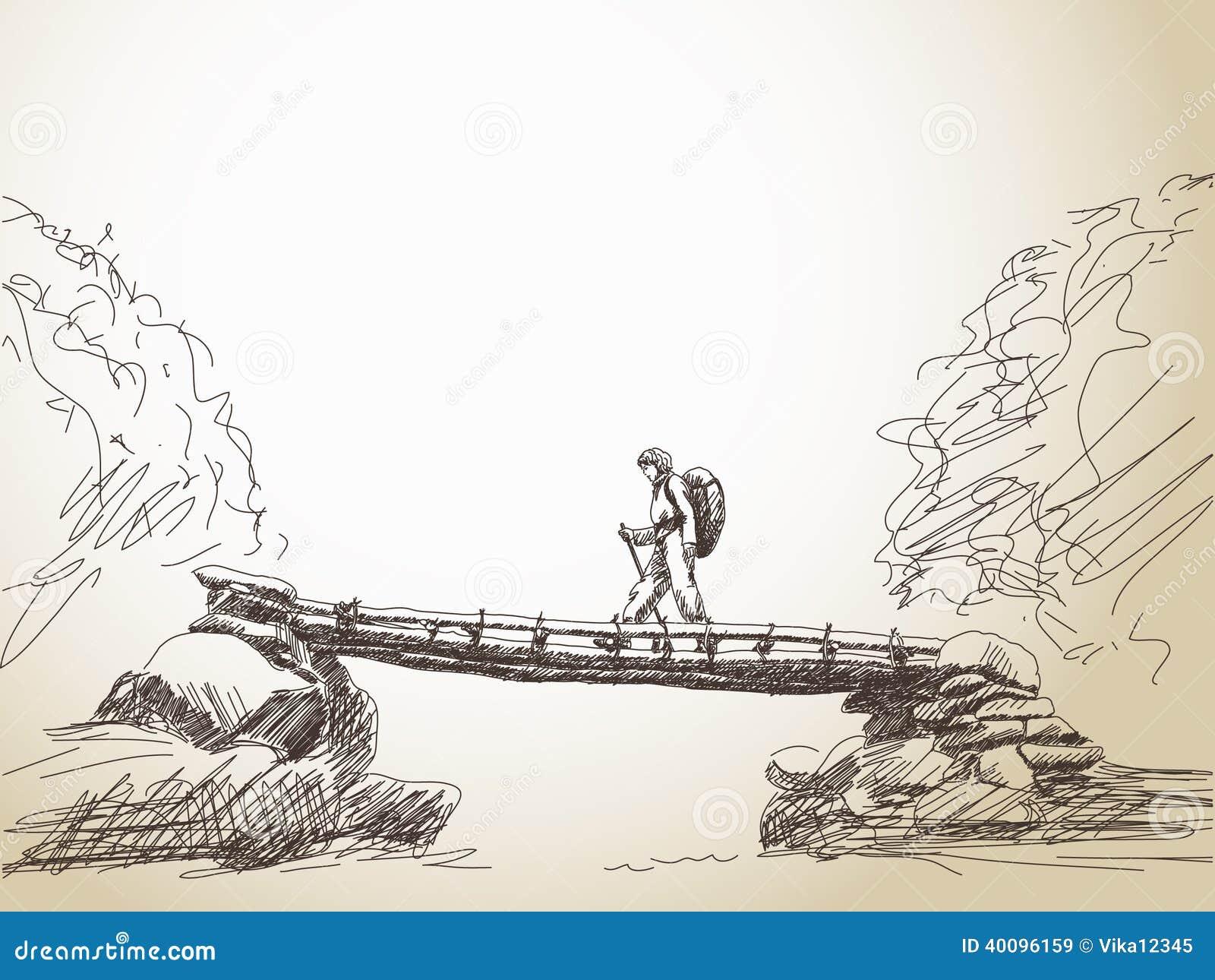 Bridge Crossing River With Trekking Woman Stock Vector