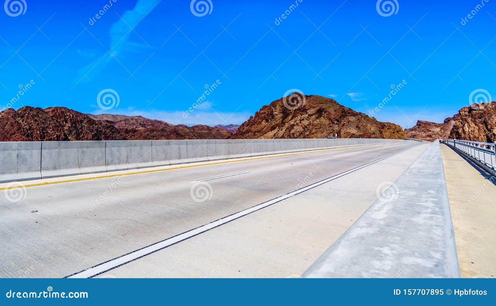 The bridge deck of the Mike O` Callaghan-Pat Tillman Memorial Bridge over the Colorado River at the Hoover Dam