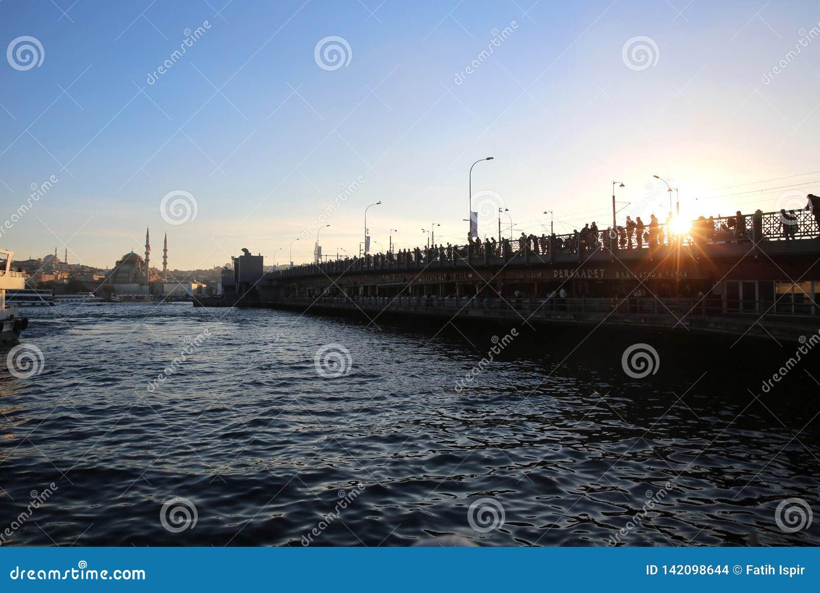 Bridge för istanbul för kustlinjegalataen som sexhörniga hav för räcke modeller är squarish in mot sikt