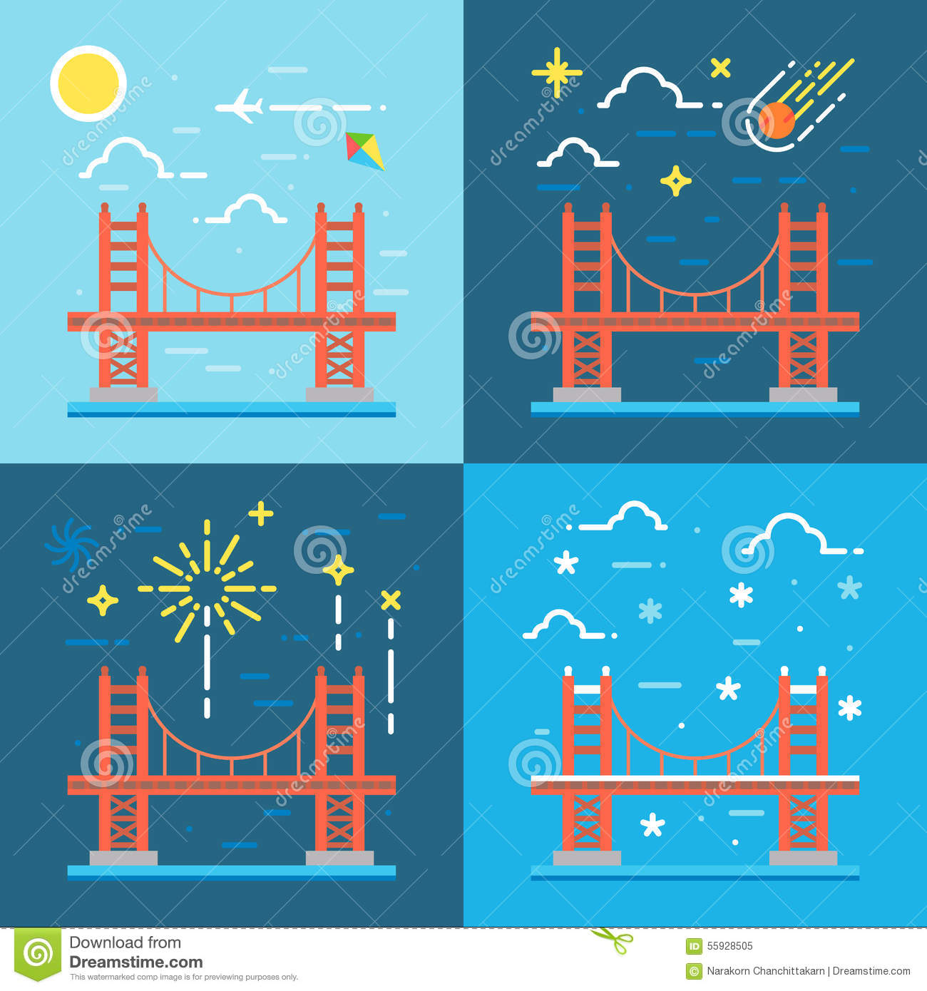 Bridge Golden Gate Vector San Francisco Illustration Red - San francisco map vector free download