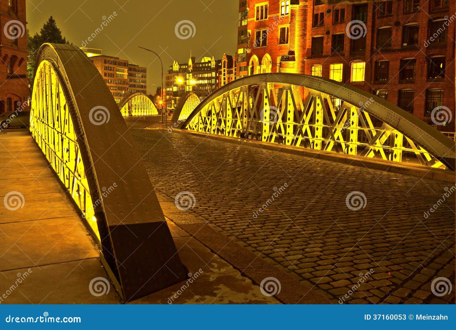 Bridge in the historic Speicherstadt (Warehouse district) in Hamburg