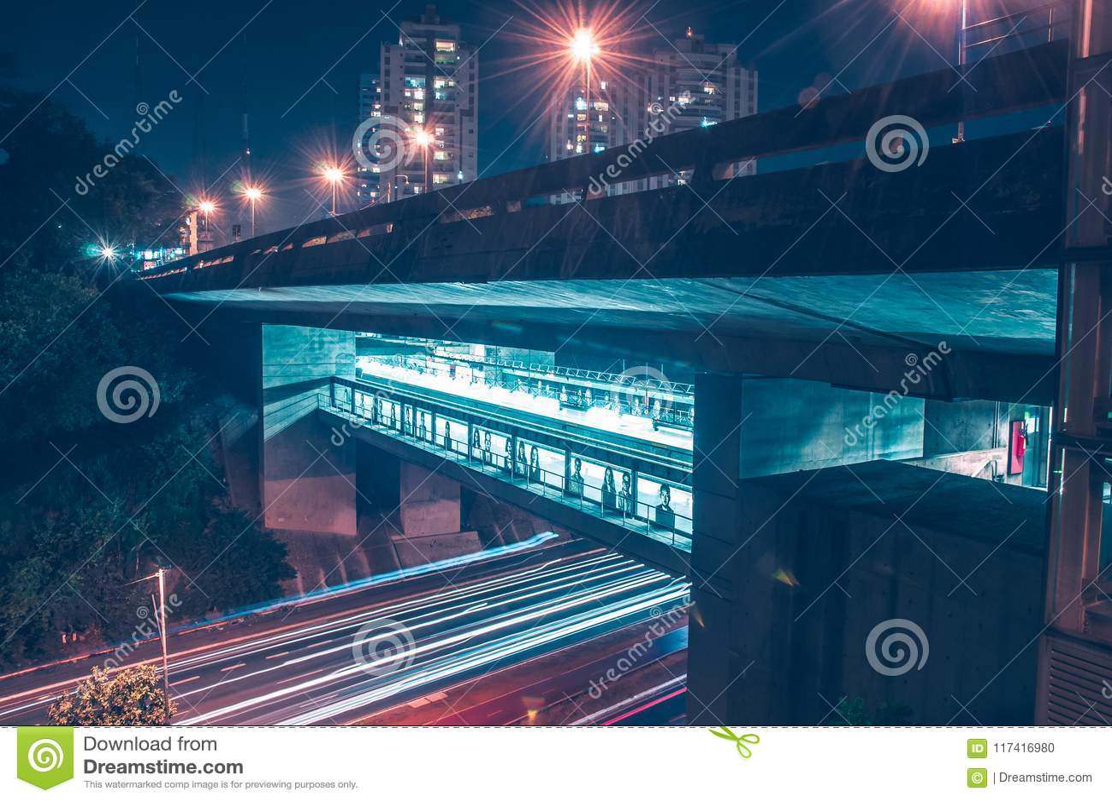 Bridge illuminated in different aspects