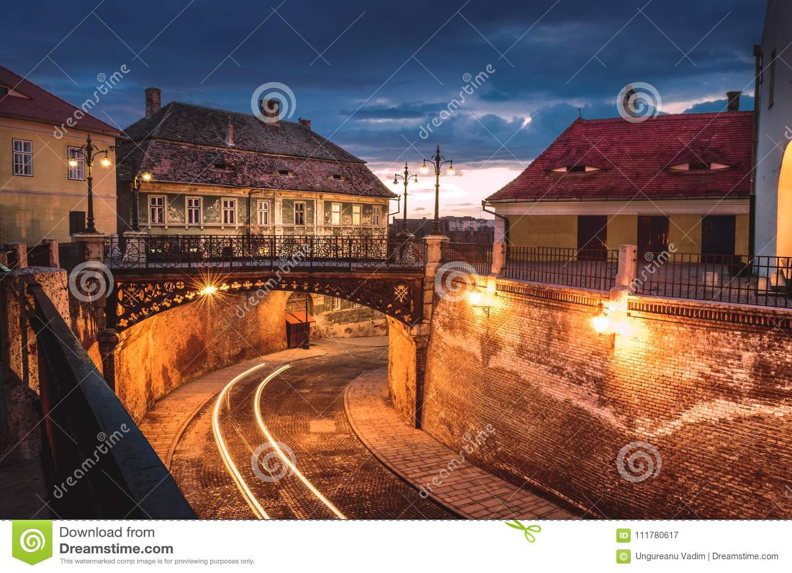 The Bridge of Lies at sunset in Sibiu, Romania