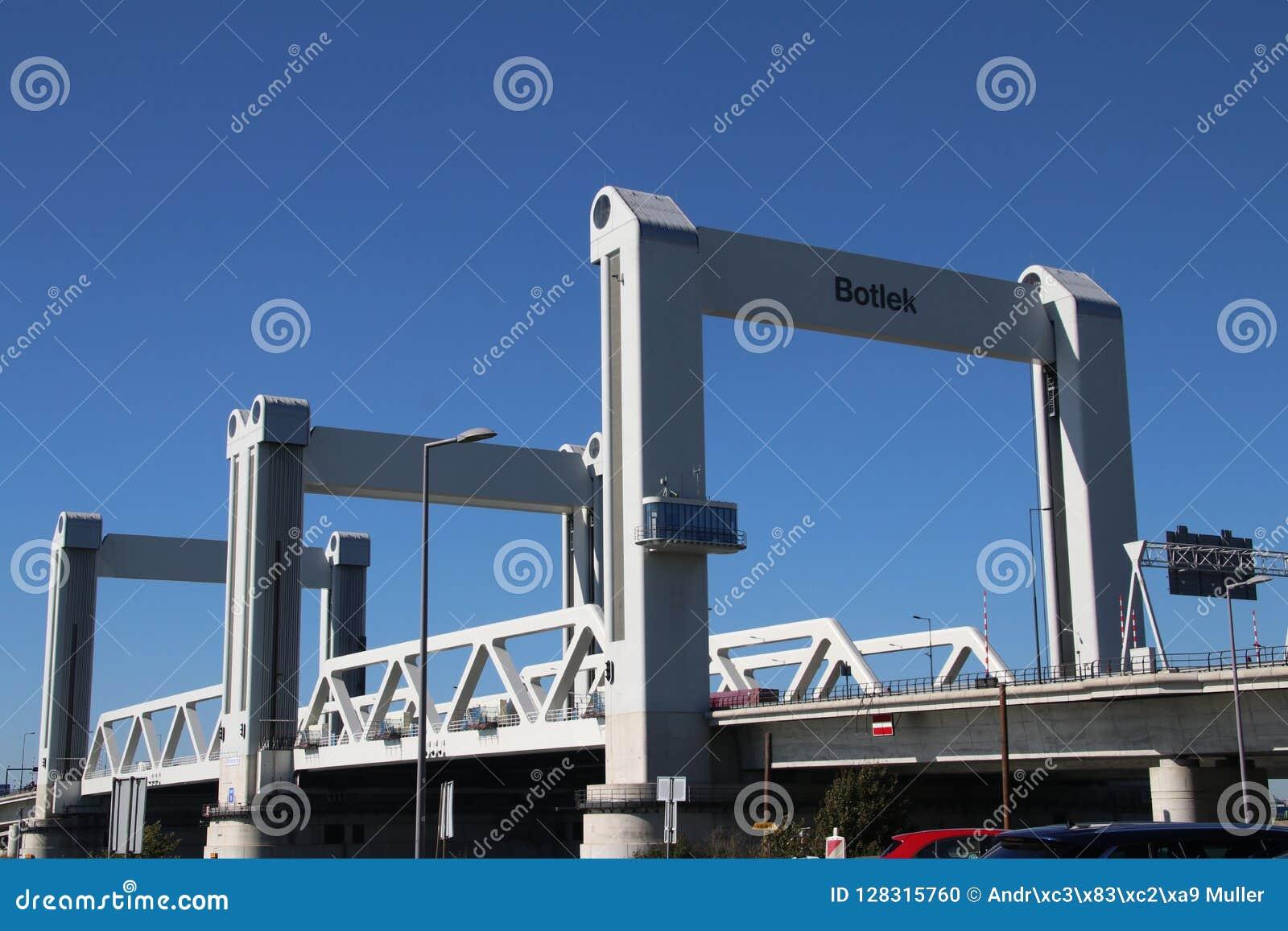 Bridge named Botlekbrug on motorway A15 in the Botlek harbor in Rotterdam, The Netherlands