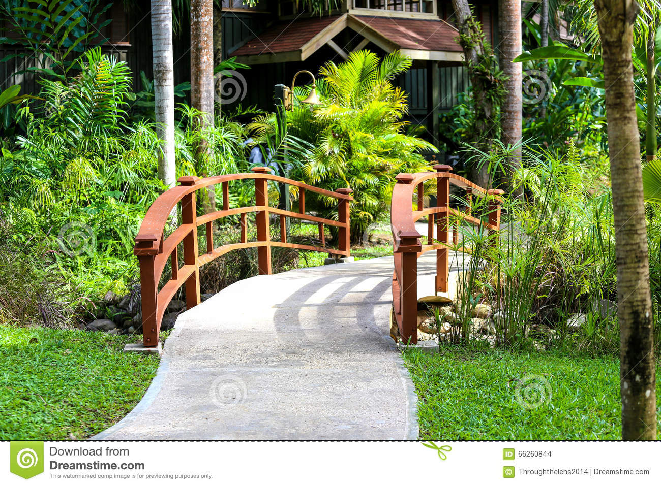 Bridge In A Nature Park With Green Background Stock Photo