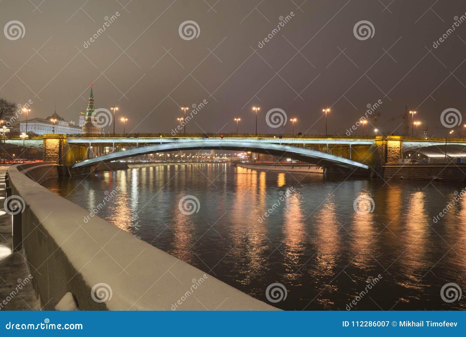 Bolshoy Kamenny Bridge Greater Stone Bridge at night.
