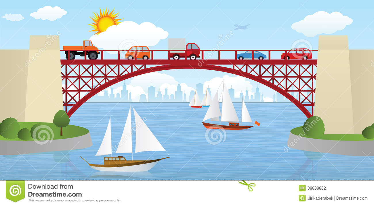 Vector illustration of bridge over the river (cars & ships).