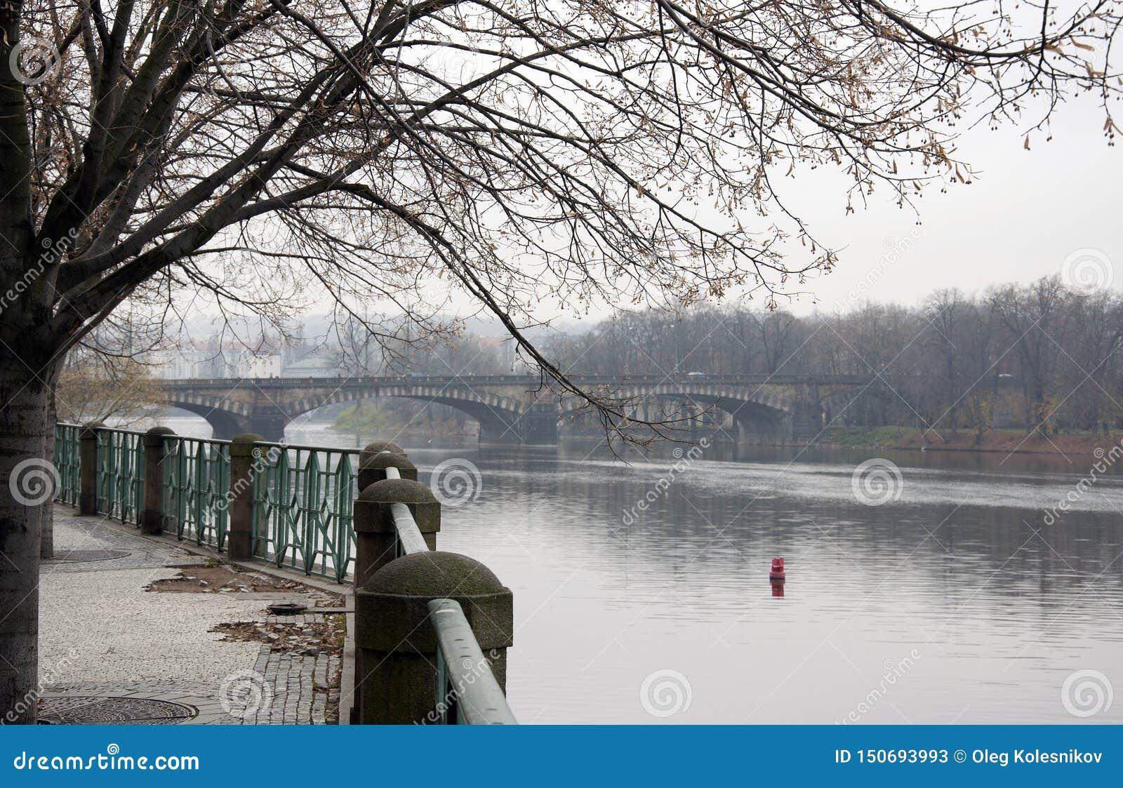 A bridge over the Vltava River in Prague in the fall