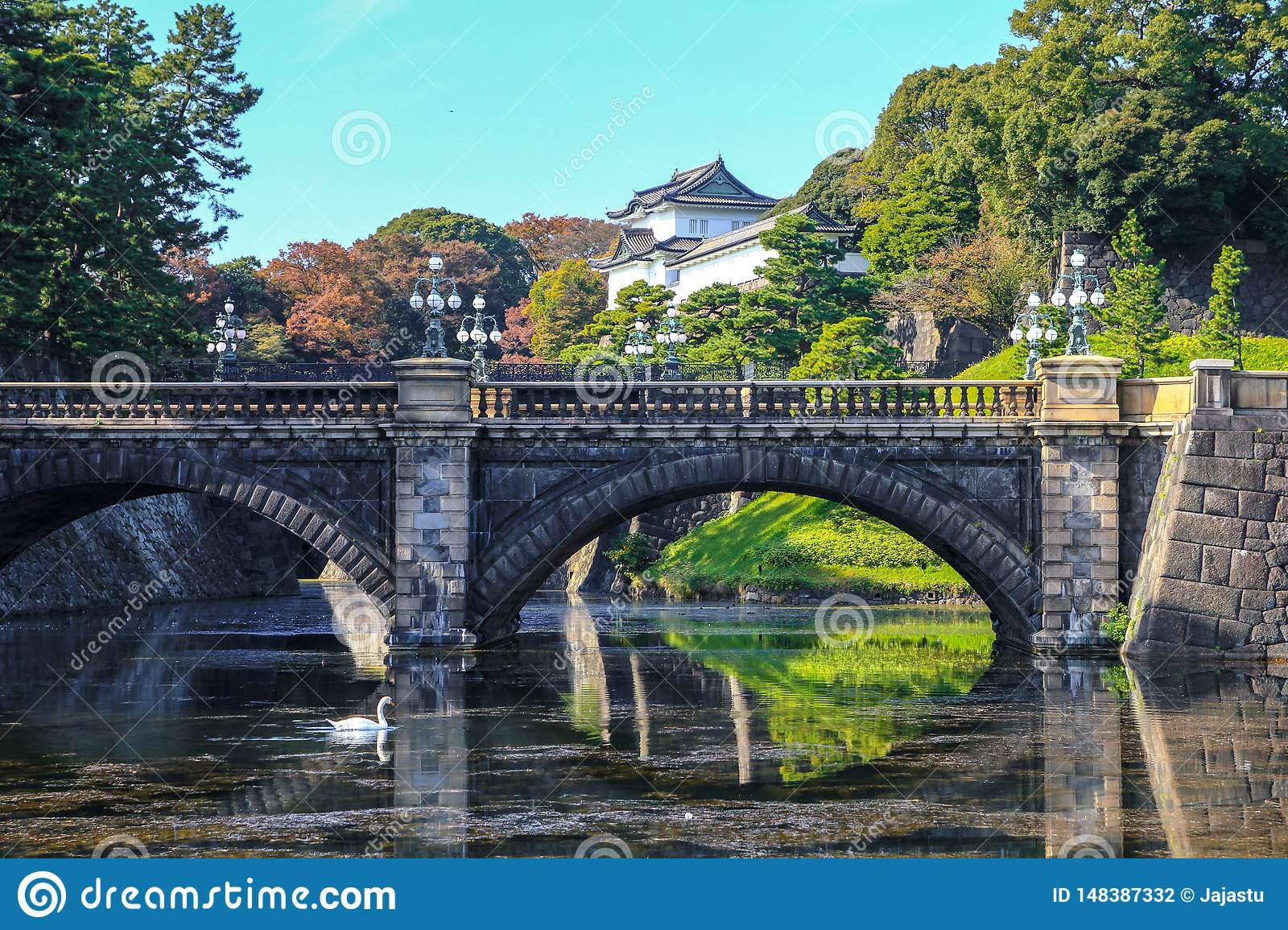 Bridge reflection and imperial palace, Tokyo, Japan.