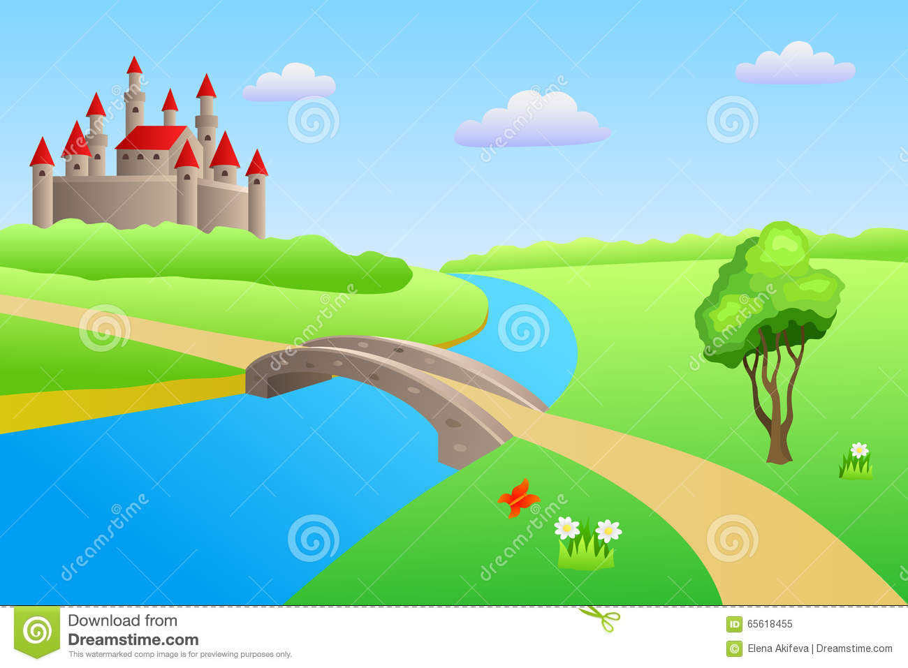 Bridge River Summer Landscape Day Castle Illustration Stock Vector Image 65618455