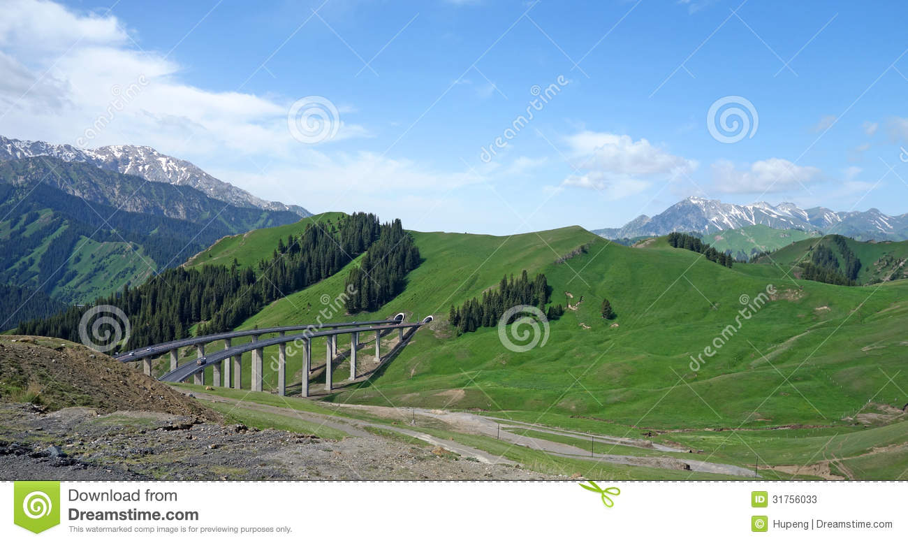 Download Bridge  With Snow Mountains Stock Image - Image of forest, emptiness: 31756033