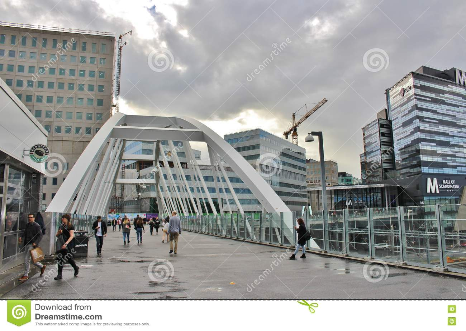 The Bridge At Solna Station In Arenastaden Editorial Photo Image