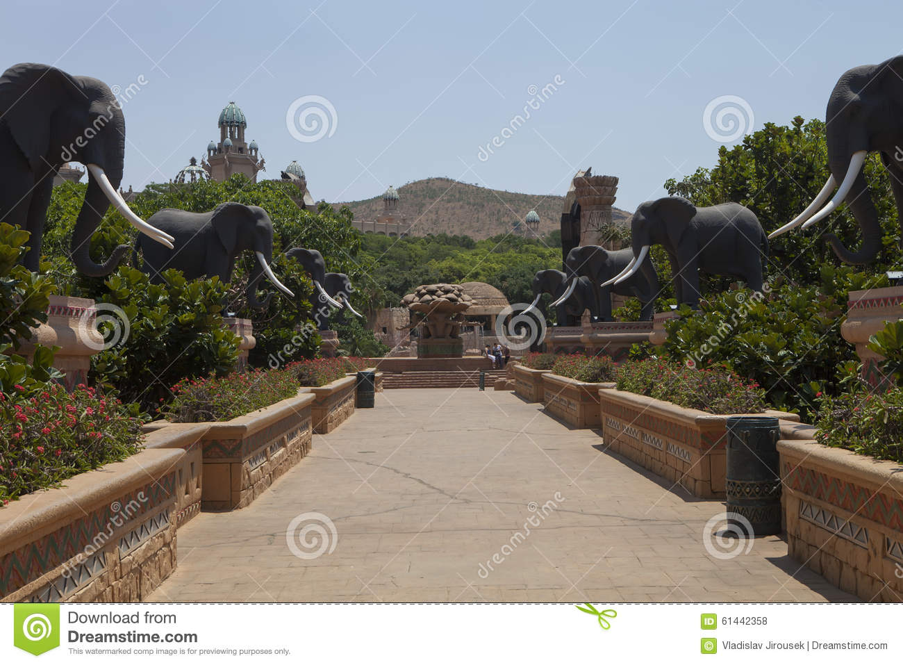 Bridge with statues of elephants, in Sun City, South Africa
