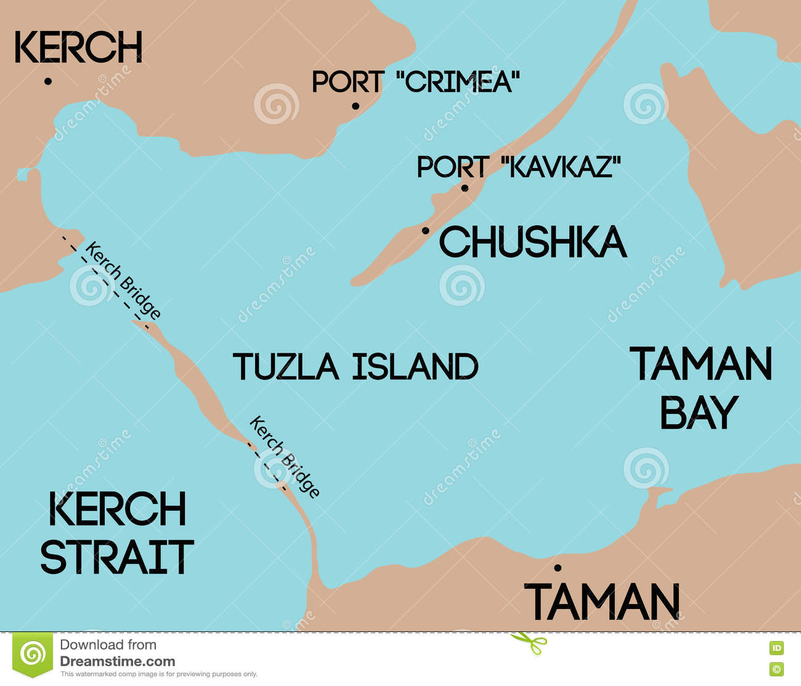 Bridge To Crimea  Schematic Map Of Kerch Bridge  Stock Vector