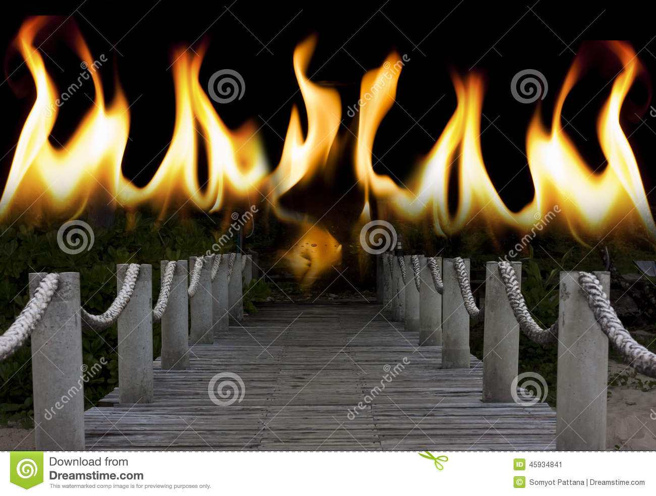 Bridge to the hell stock photo image 45934841 for Direct flame