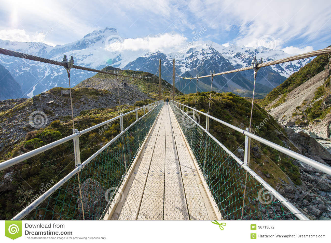 Bridge to the monthain in Mt. Cook National Park