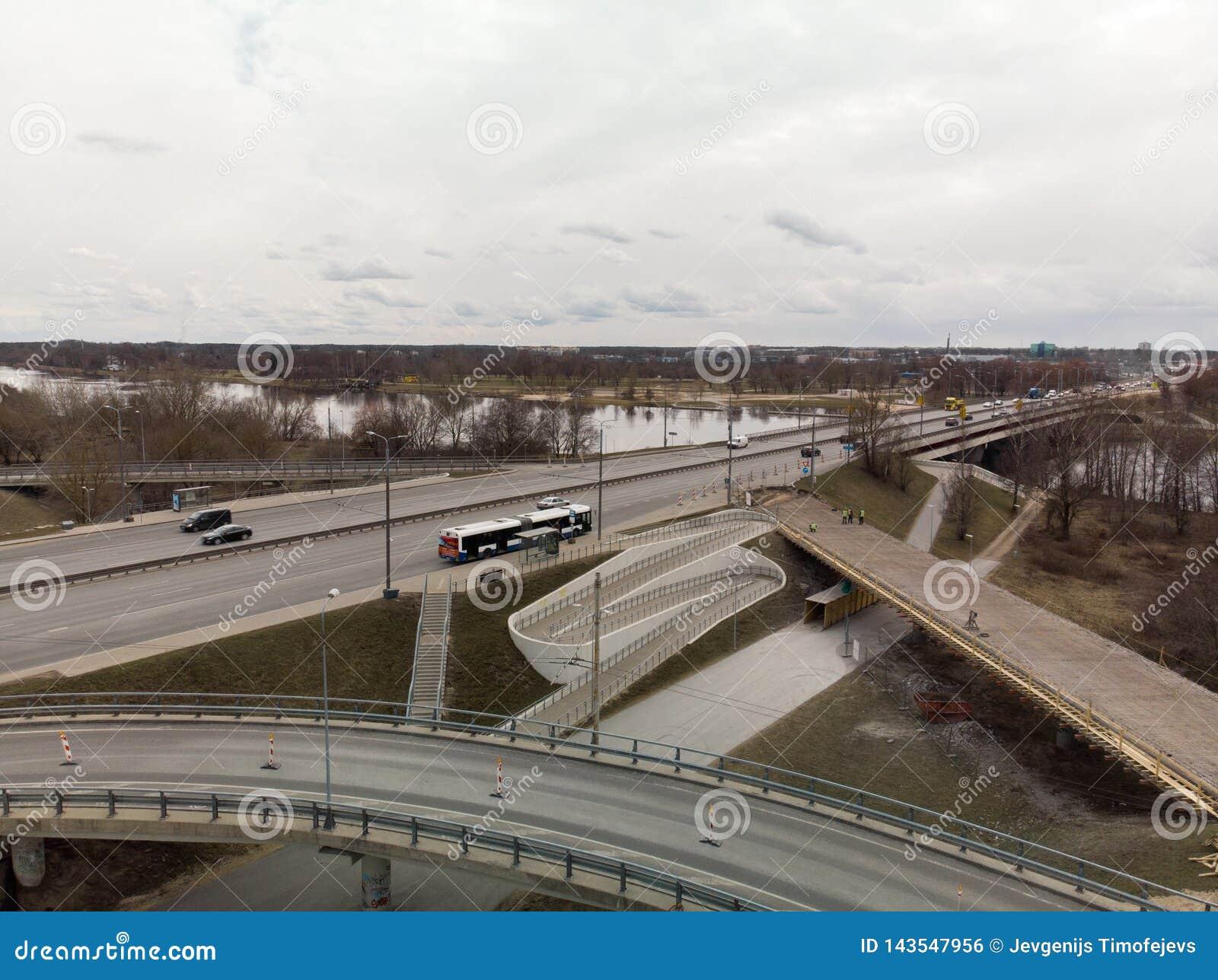 Bridge under construction in Riga, Latvia during a gloomy day