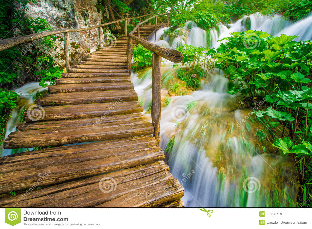 Bridge And Waterfalls Stock Image Image Of Fall Blur