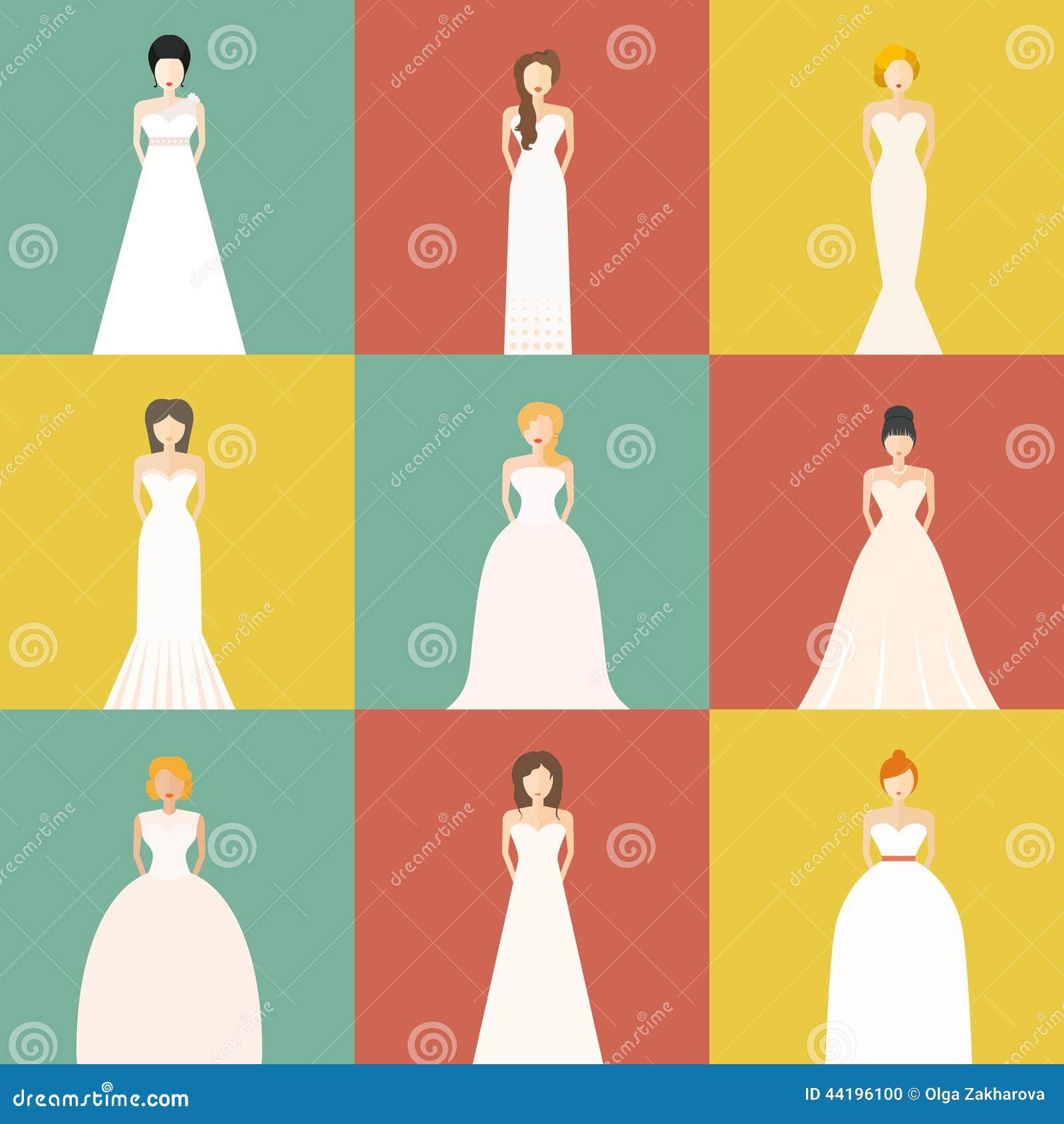 Brids In Wedding Dresses Stock Illustration Image