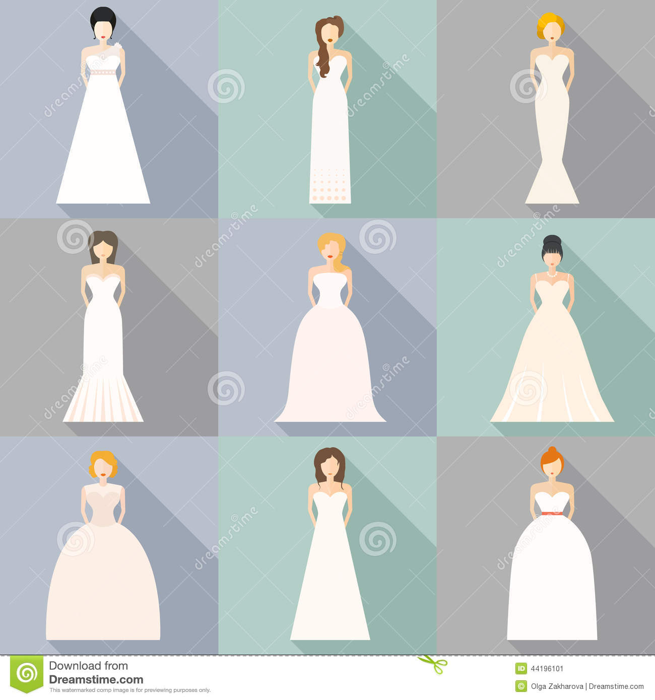 Wedding Gowns Styles Body Types: Brids In Wedding Dresses Stock Illustration