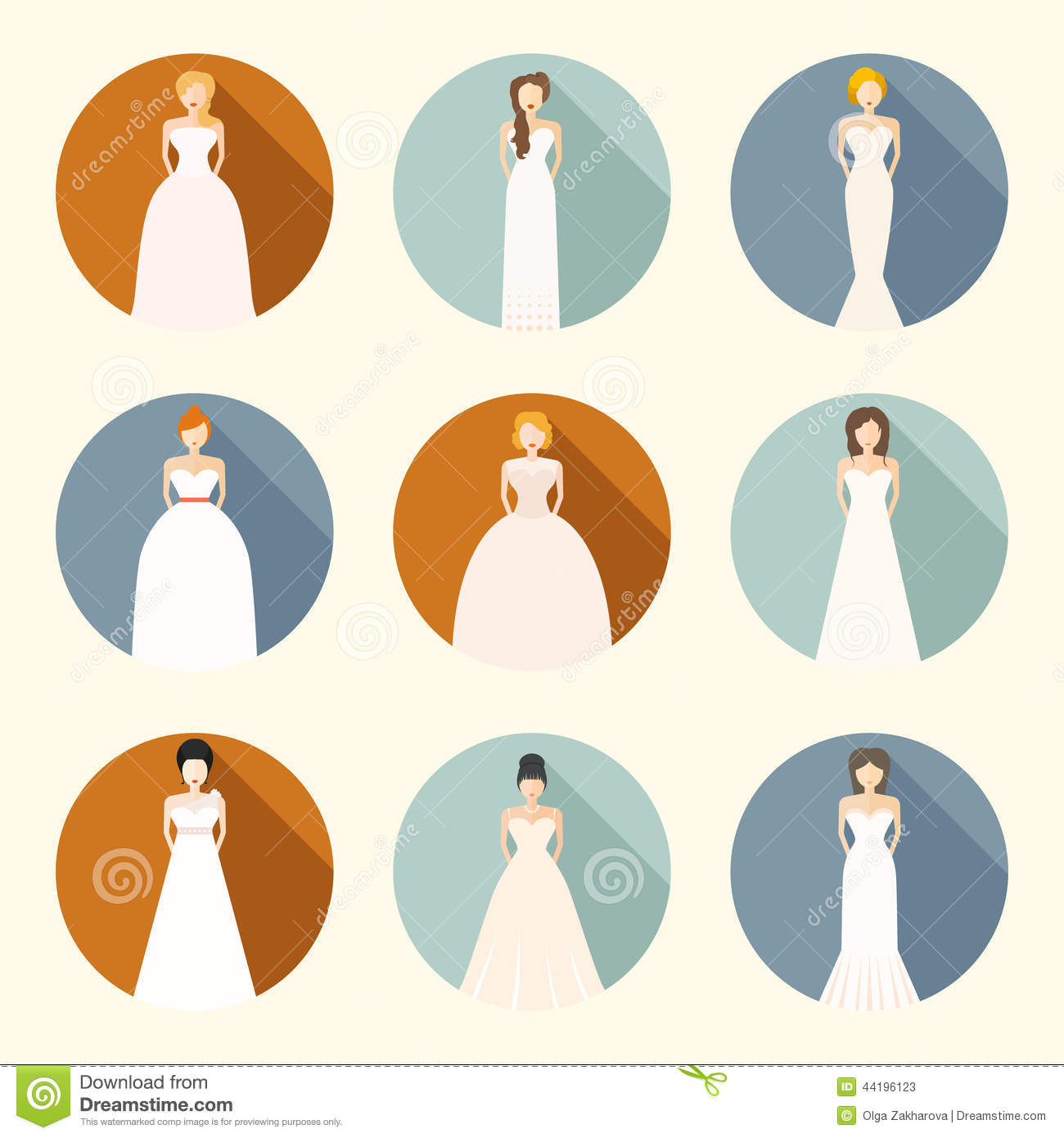 Brids In Wedding Dresses Stock Illustration Image Of