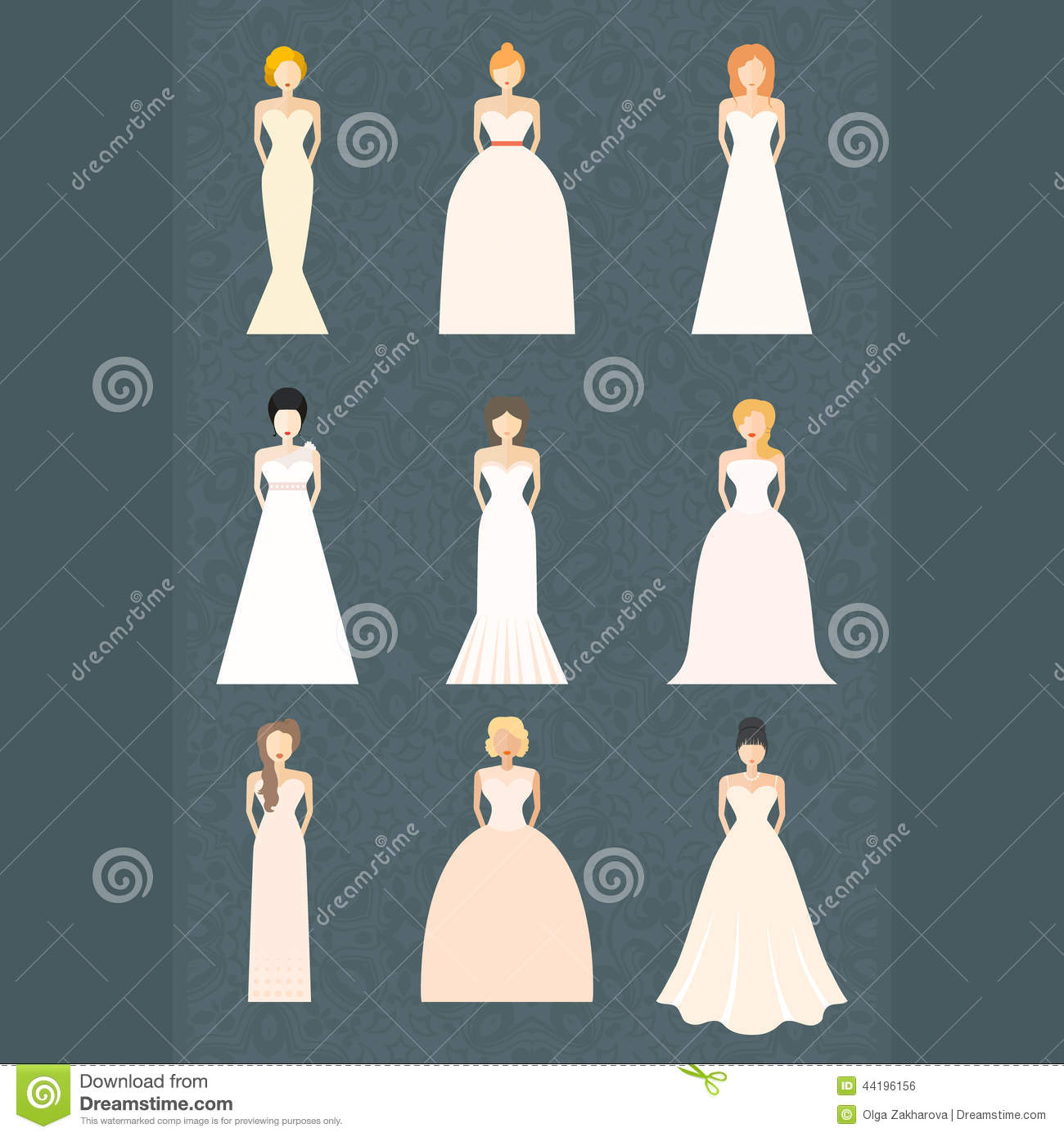 in different styles of wedding dresses made in modern flat style