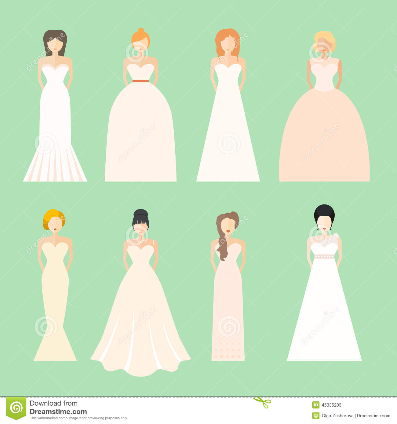 different styles of wedding dresses made in modern flat vector style