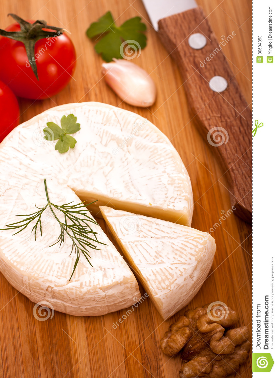 Brie Cheese Top View Stock Image Image Of Dairy Blue