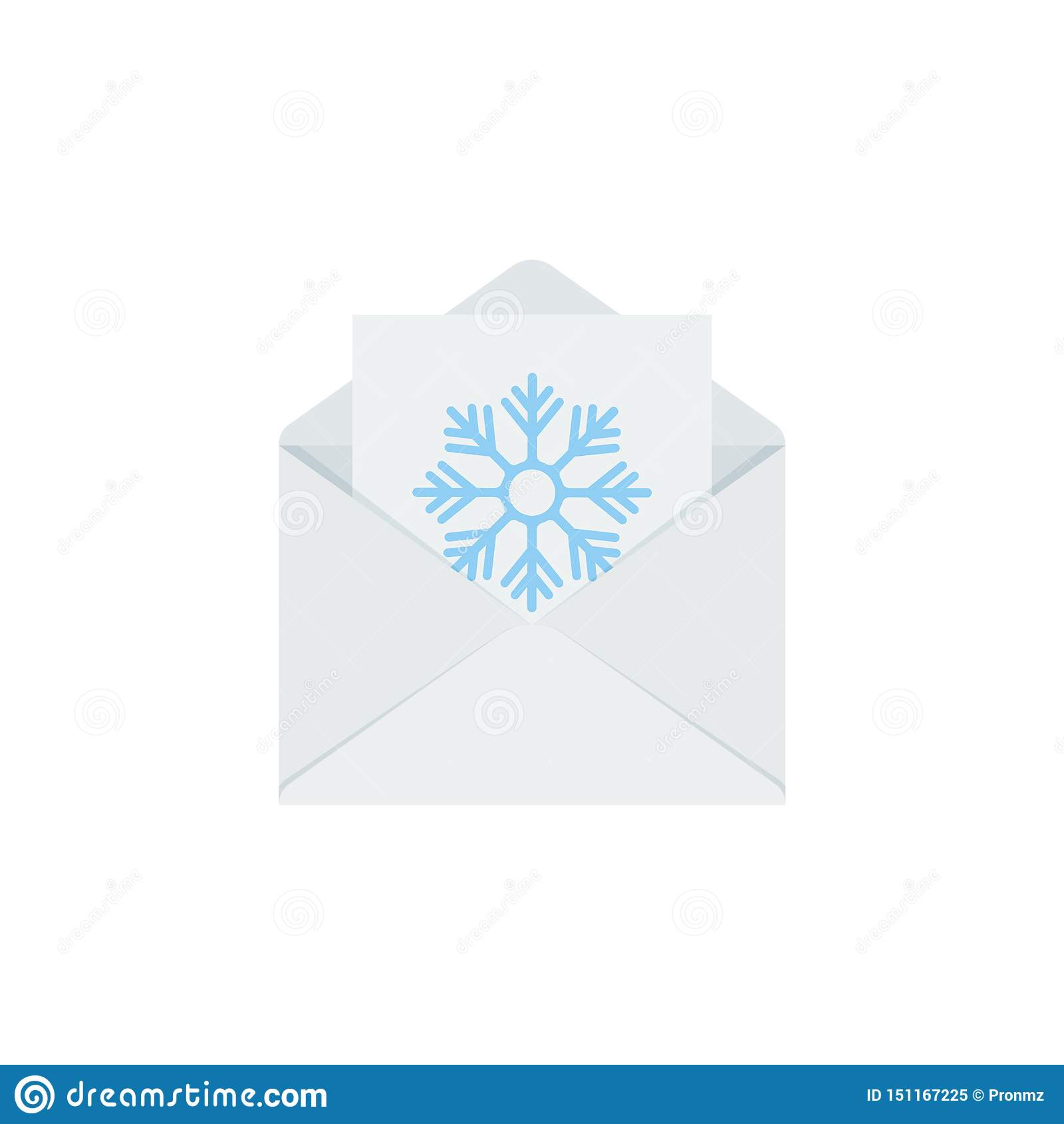 Brief aan Kerstman in envelop Het pictogram van Kerstmis Vectorillustratie in vlak ontwerp