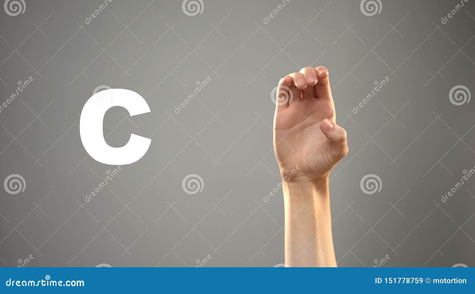 Brief C in gebarentaal, hand op achtergrond, mededeling voor doof, les
