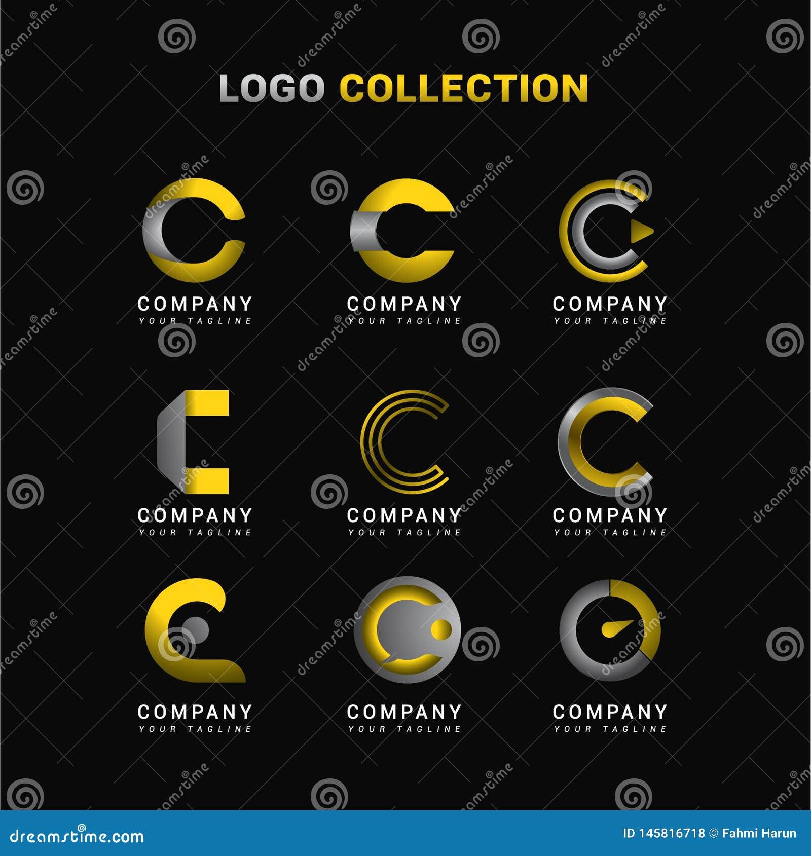 Brief C Logo Collection Template met Geel en Grijs