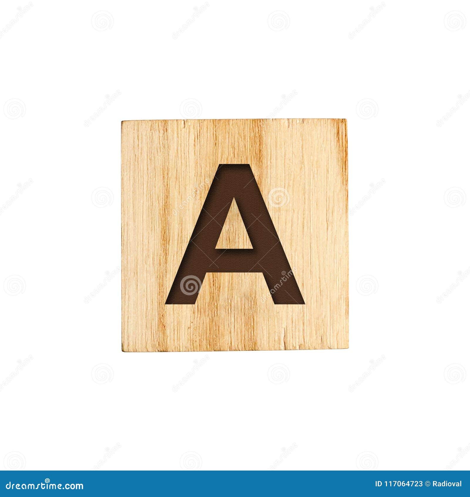 Brief A, Engels alfabet op een houten kubus