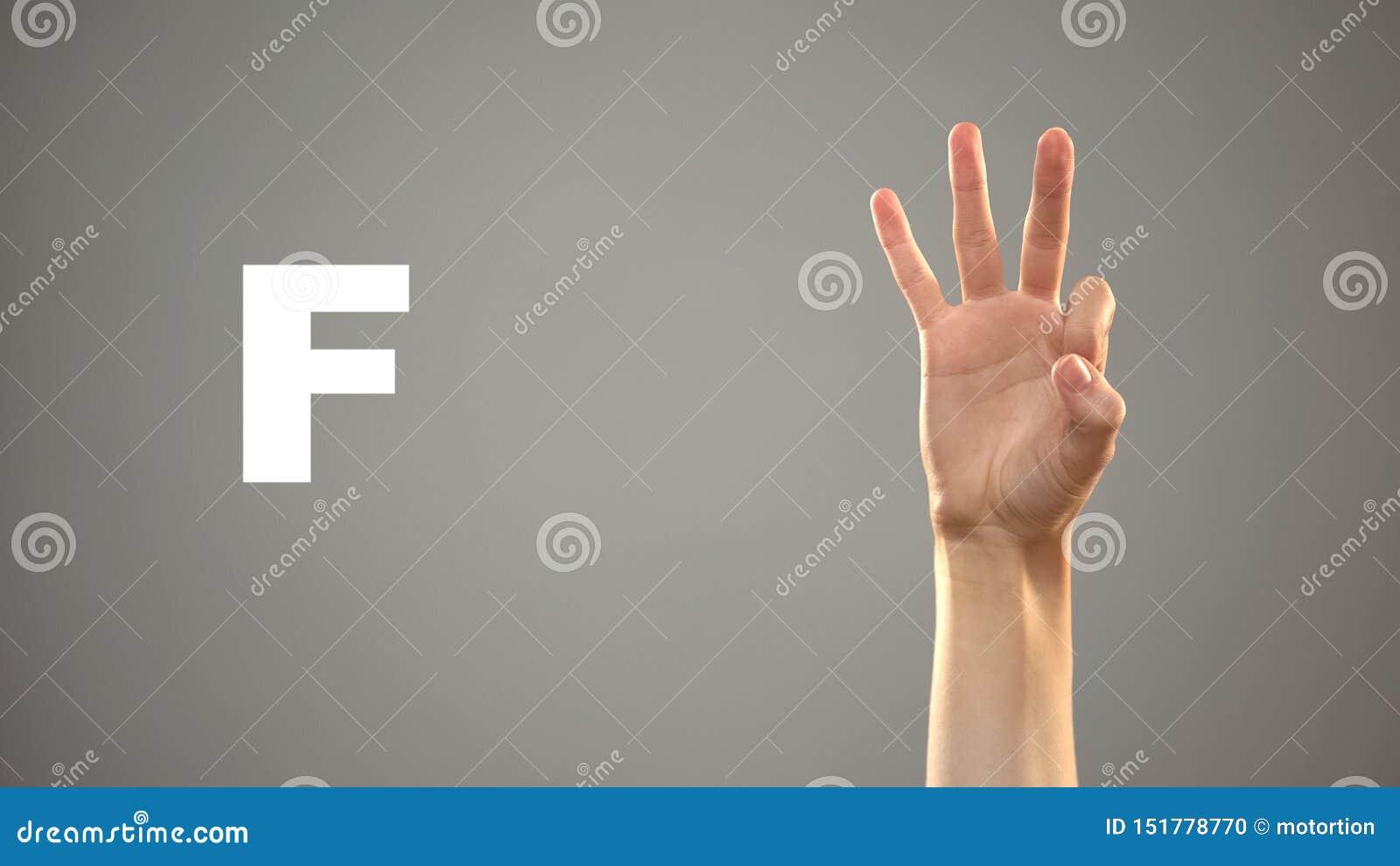 Brief F in gebarentaal, hand op achtergrond, mededeling voor doof, les