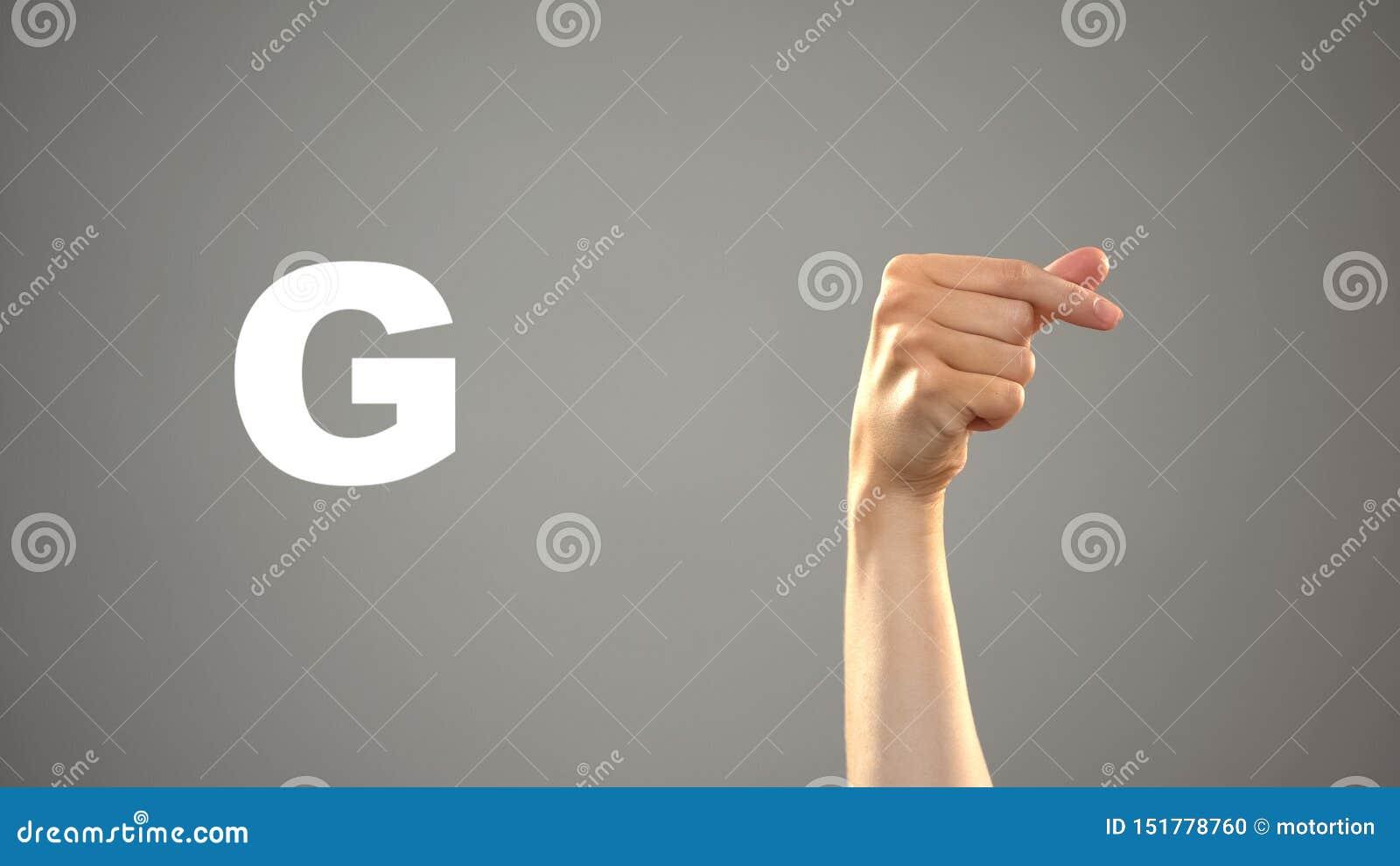 Brief G in gebarentaal, hand op achtergrond, mededeling voor doof, les