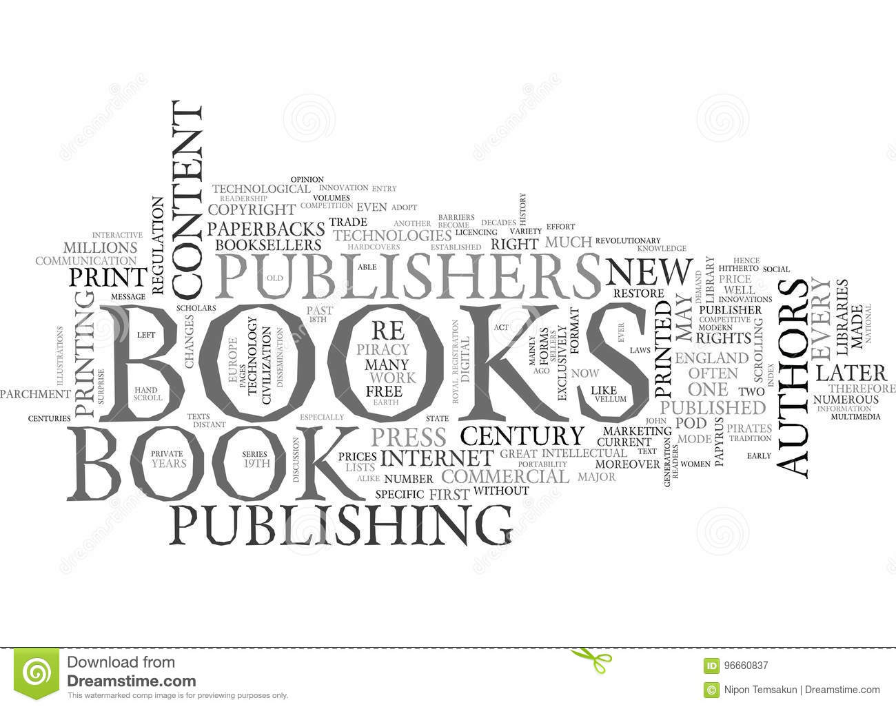 a brief history of the book word cloud stock illustration