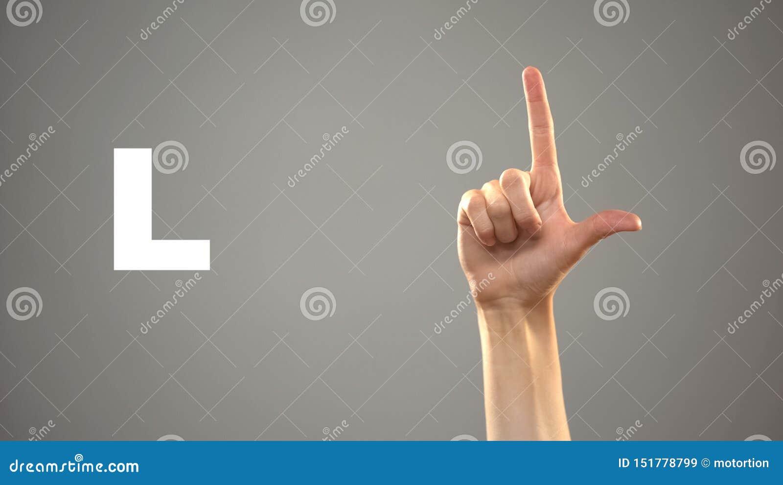 Brief L in gebarentaal, hand op achtergrond, mededeling voor doof, les