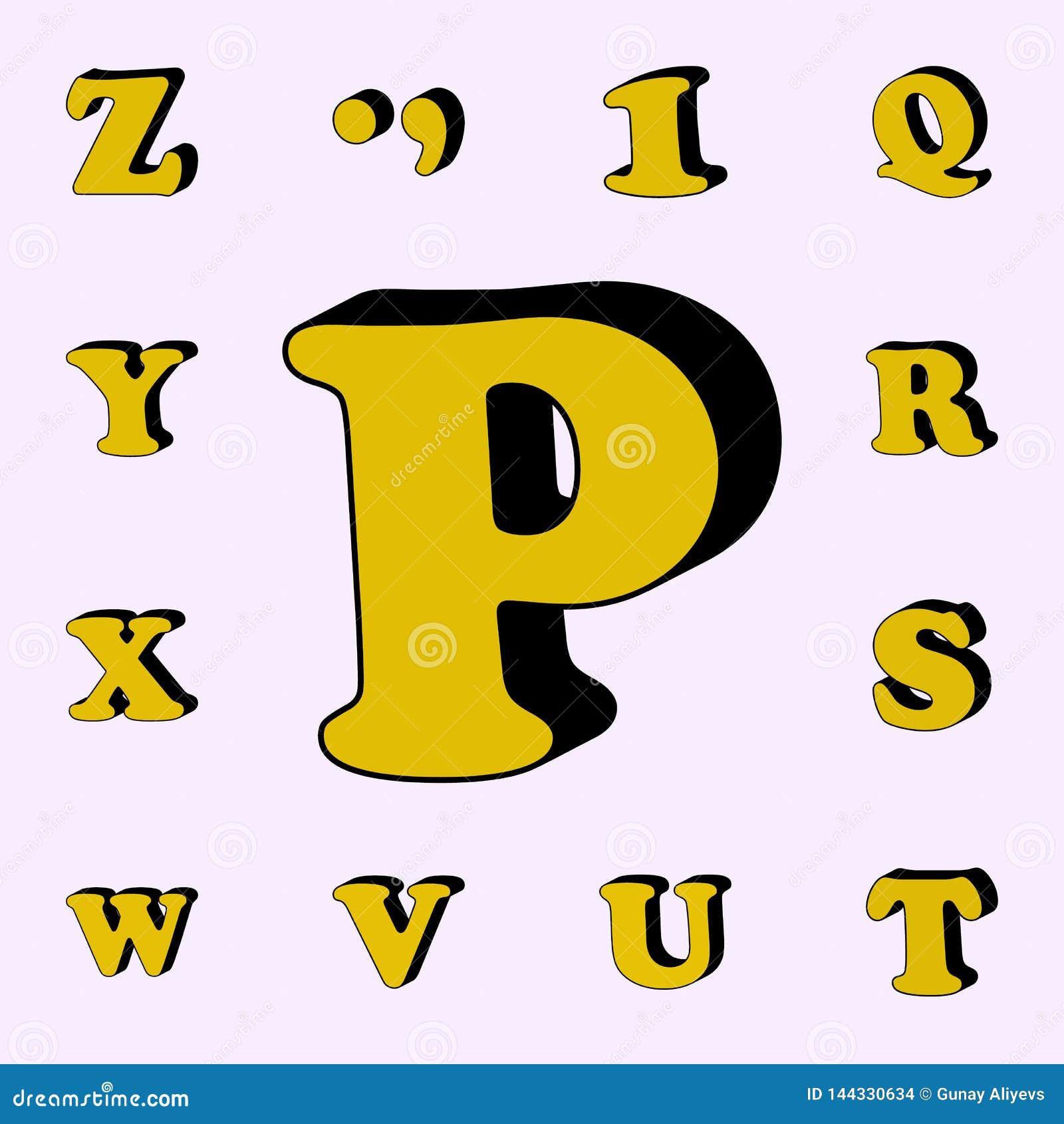 Brief P, alfabet, 3D pictogram 3D dat voor Web wordt geplaatst en mobiele algemene begrip van woordenpictogrammen