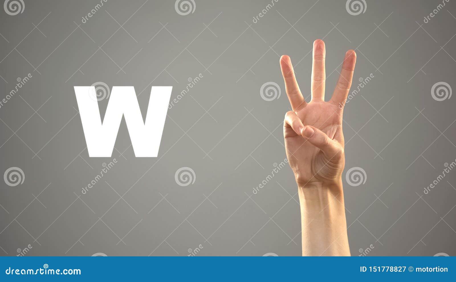 Brief W in gebarentaal, hand op achtergrond, mededeling voor doof, les