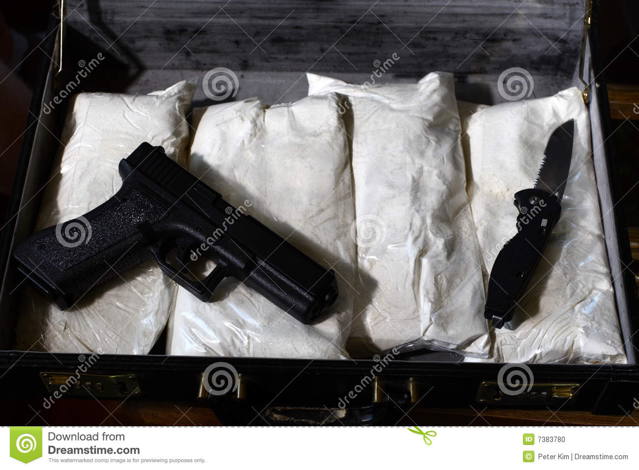 Briefcase with drugs and gun
