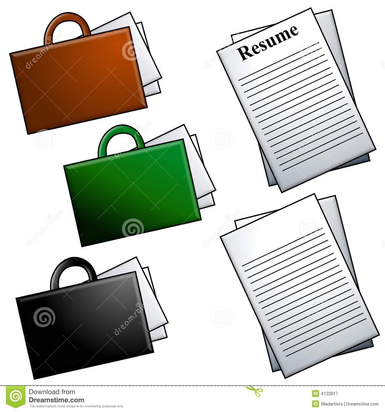 briefcases and resume clip art stock illustration