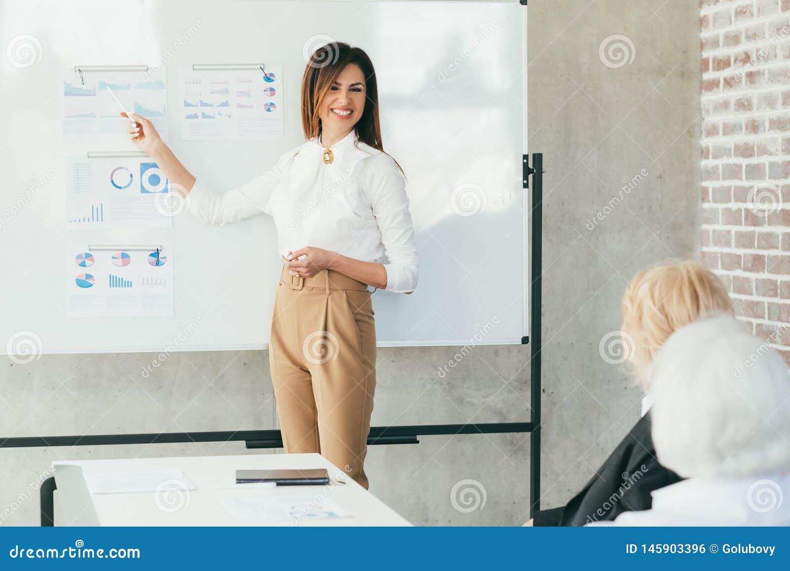 Briefing d entreprise réussi de femme d affaires