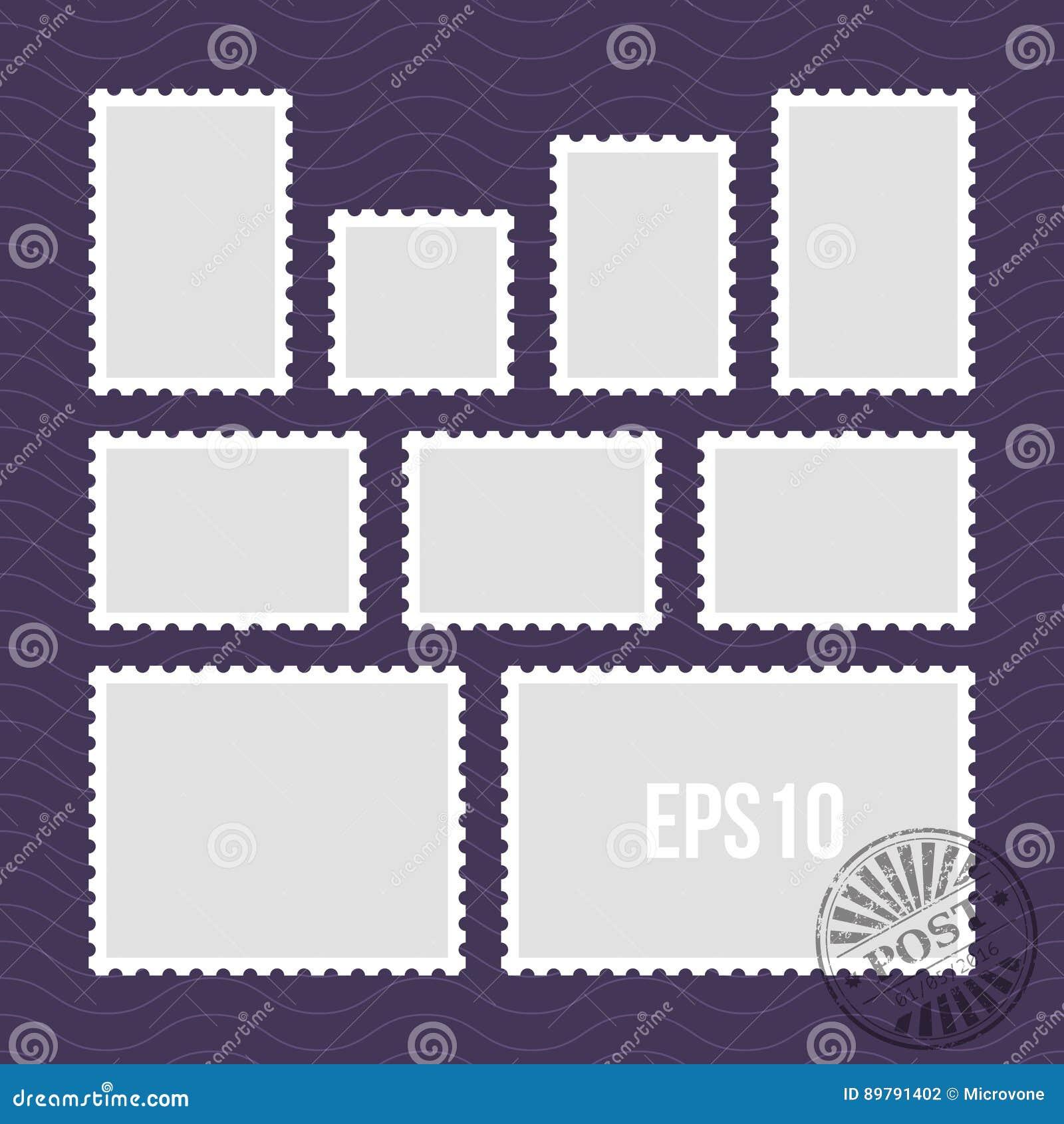 Briefmarken mit perforiertem Rand und Poststempel vector Schablone