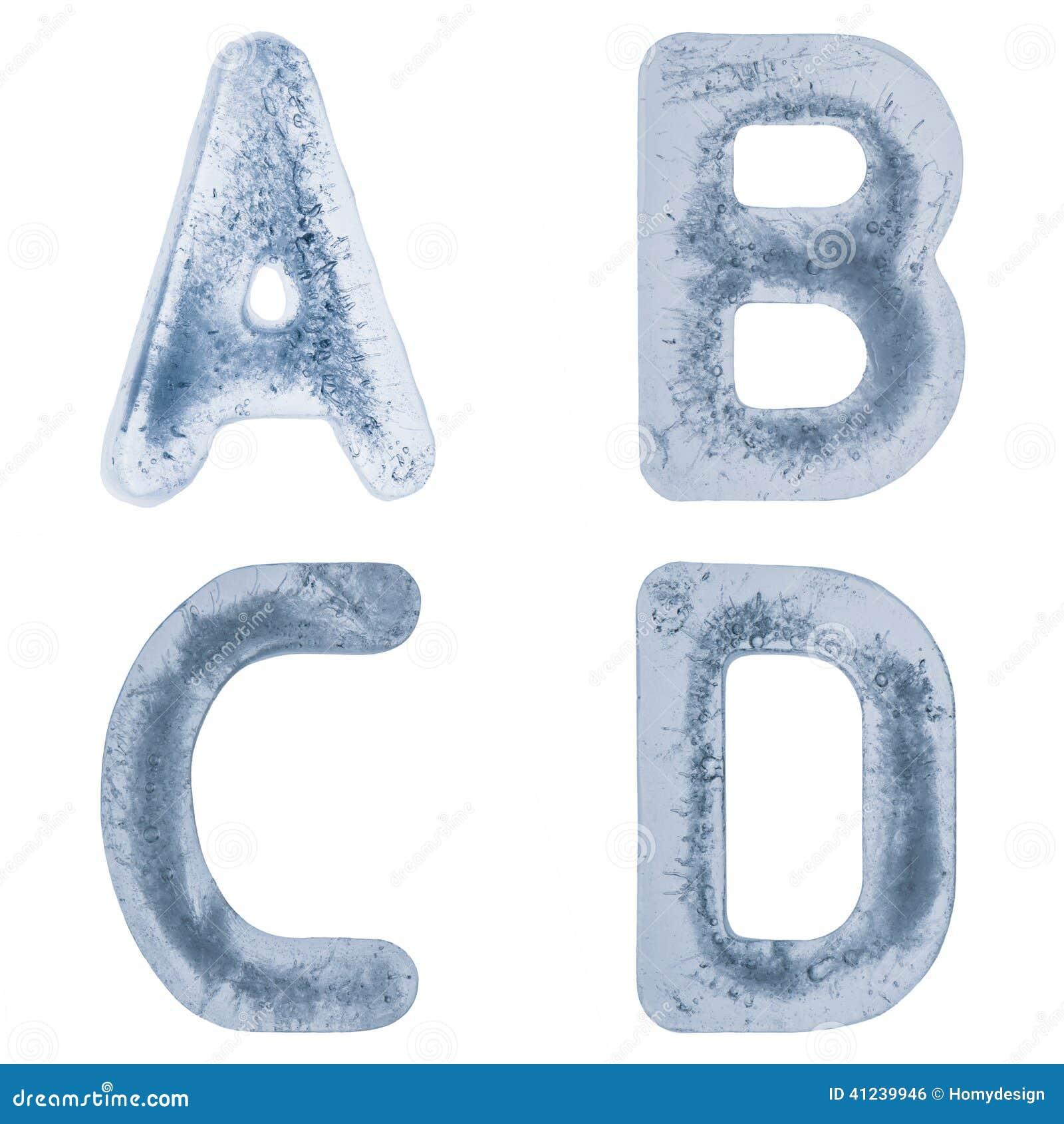 Brieven A, B, C en D in ijs