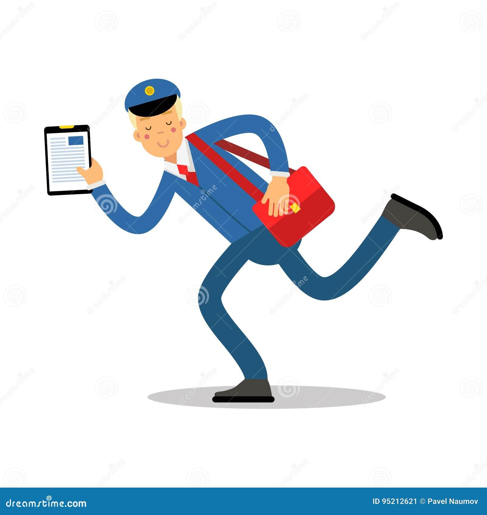Brievenbesteller in blauwe eenvormig met rood zak en klembord lopend beeldverhaalkarakter, de uitdrukkelijke vectorillustratie va