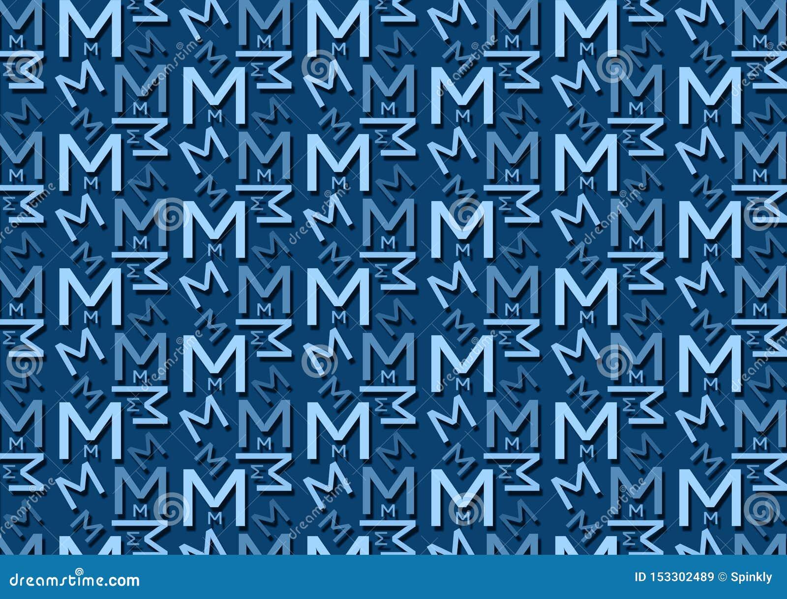 Brievenm patroon in verschillende gekleurde blauwe schaduwen voor behang