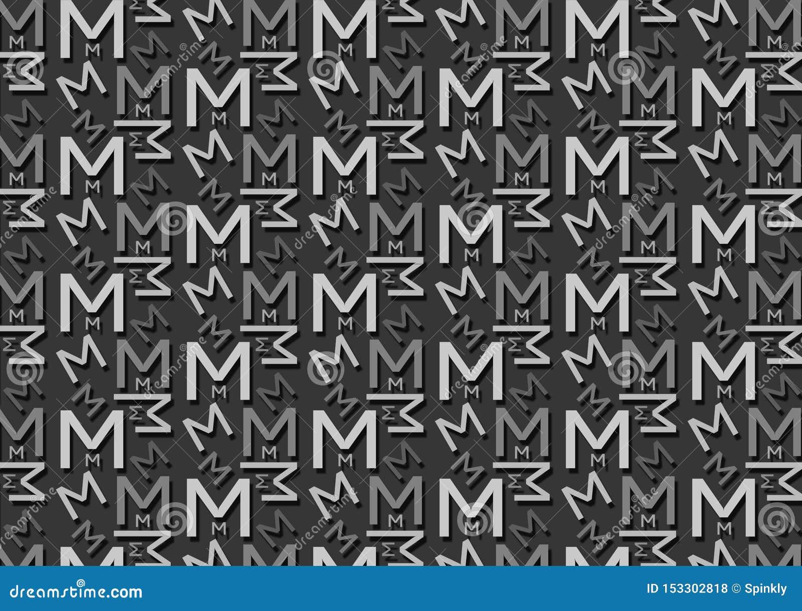 Brievenm patroon in verschillende gekleurde grijze schaduwen voor behang